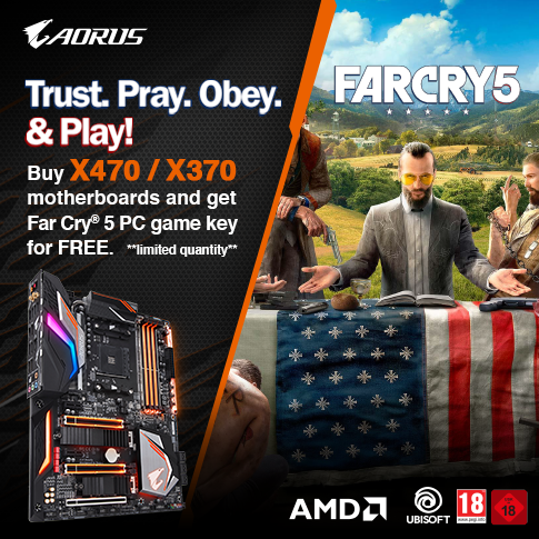Buy selected AORUS Gaming motherboards and get Far Cry 5 PC game key for FREE*